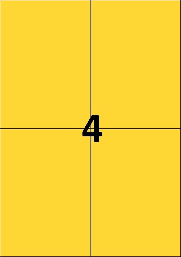4 etiquettes jaunes par A4 - Ref 256 J
